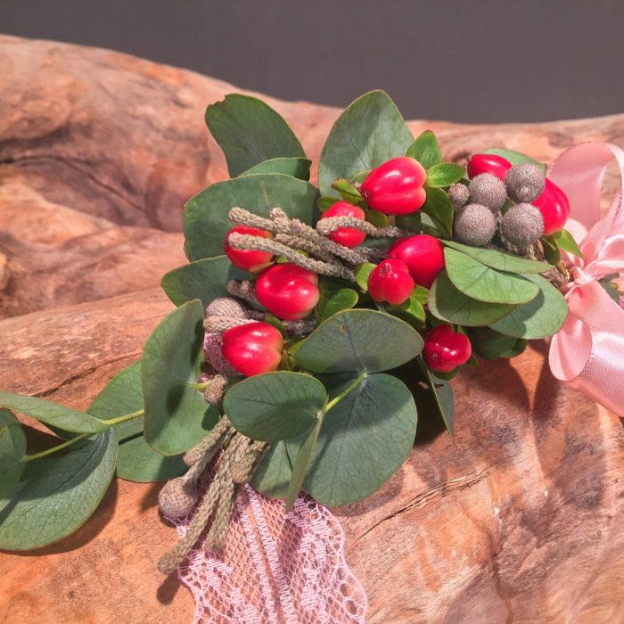 Wedding Corsage Eucalyptus Hypericum
