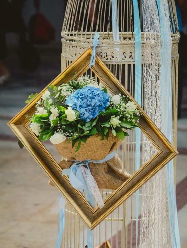 Στολισμός Βάπτισης Vintage Κλουβιά & Κορνίζες Πουγκιά Λουλούδια