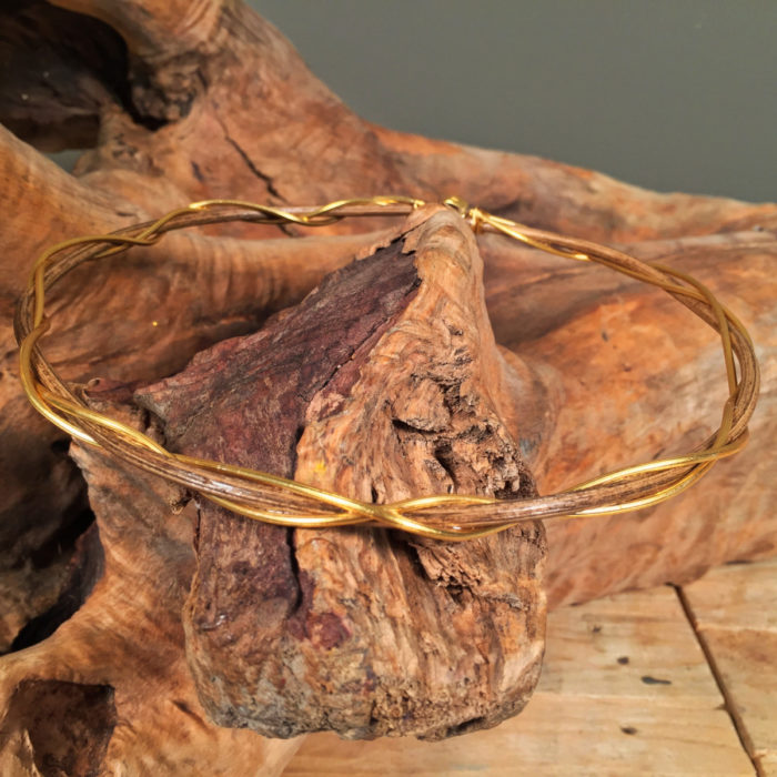 Stefana Wooden & Gold Plated