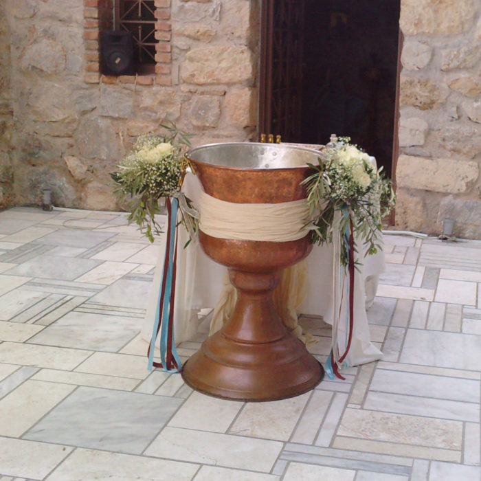 Christening Font Front Bouquets Roses