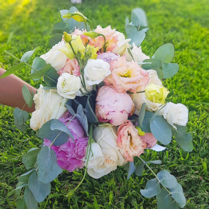 Bridal Bouquet Eucalyptus Peonies