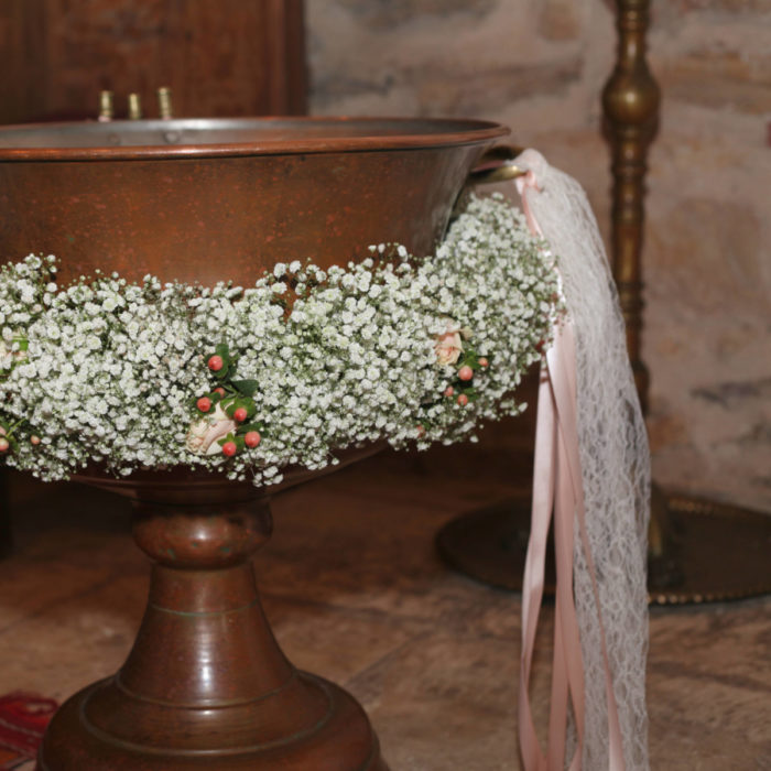 Christening Font Front Baby's Breath