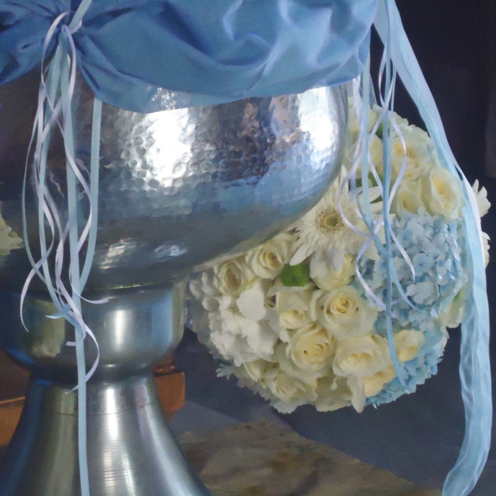 Christening Font Front Textile & Flowerballs