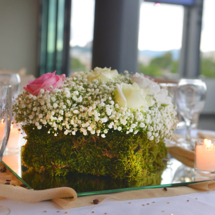 Wedding Reception Moss & Flowers Arrangment