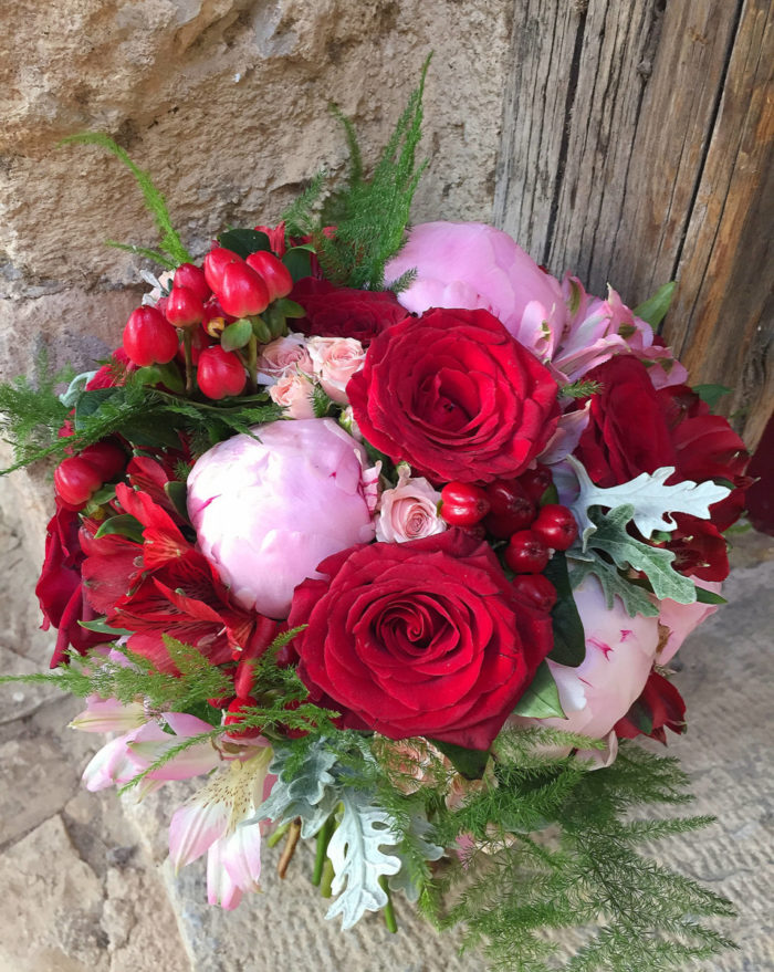 Bridal Bouquet Red & Pink