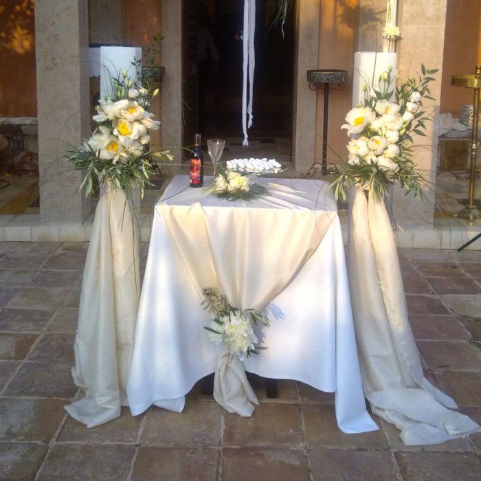 Λαμπάδες Γάμου Λευκές Παιώνιες