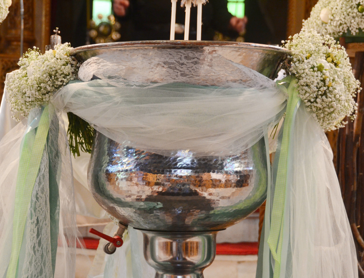 Christening Font Front Tulle & Lace