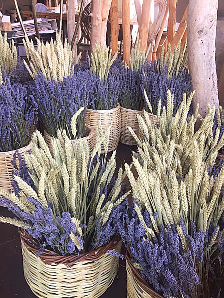 Baskets Dried Wheat & Lavender