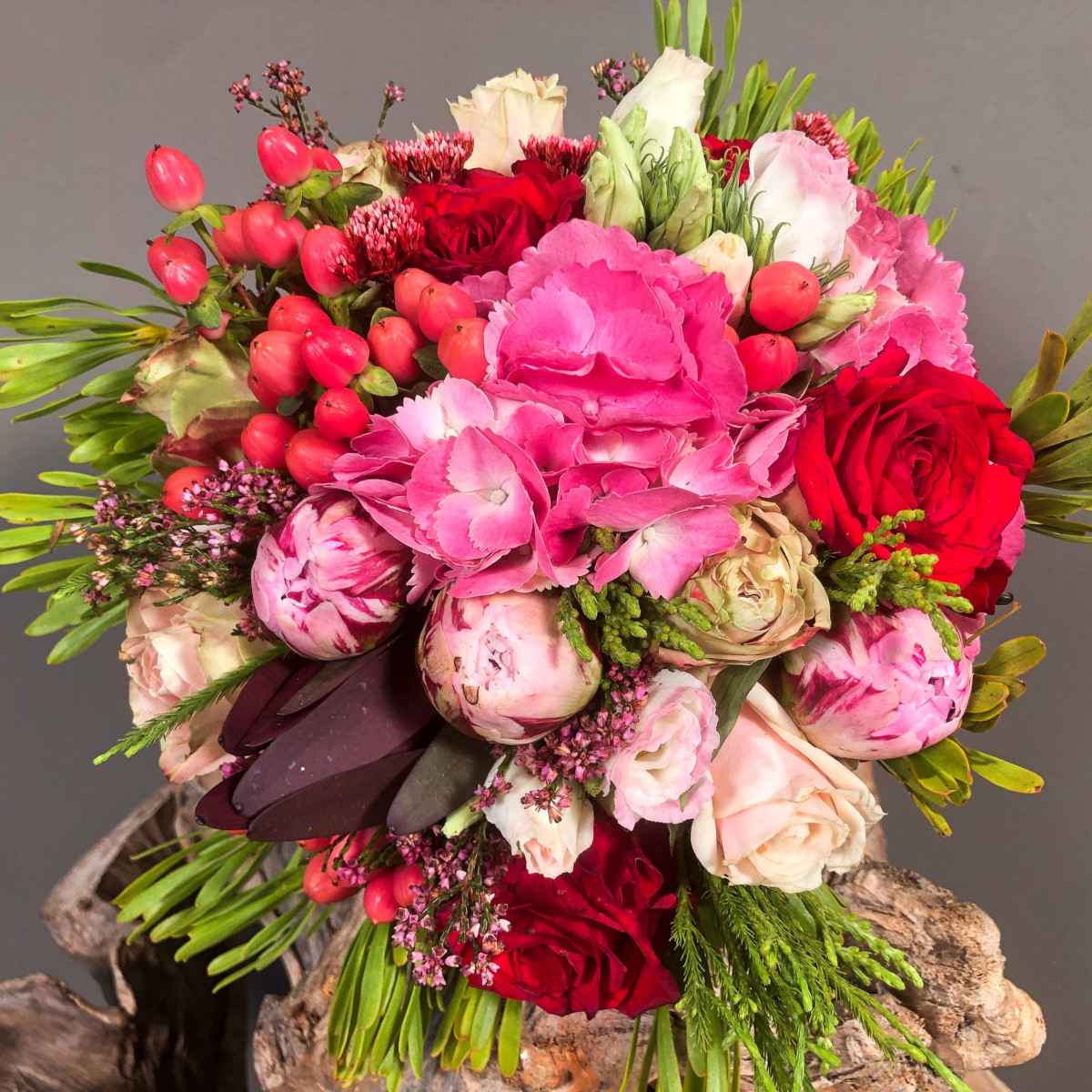 Bridal Bouquet Leucadendron Hydrangeas