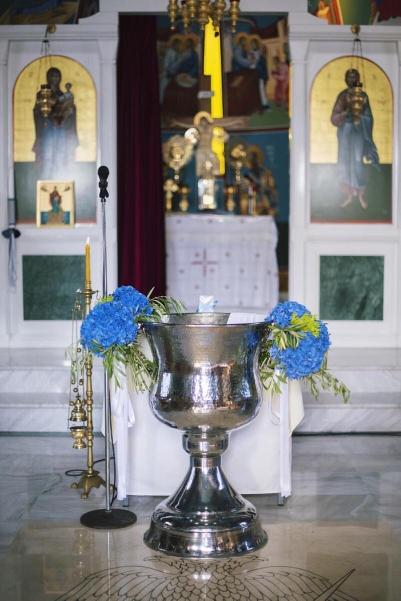Στολισμός Κολυμπήθρας Βάπτισης Ορτανσίες