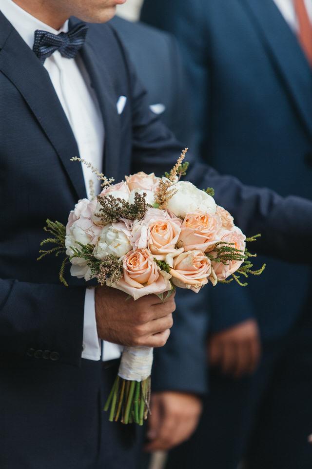Νυφική Ανθοδέσμη Σομόν Τριαντάφυλλα