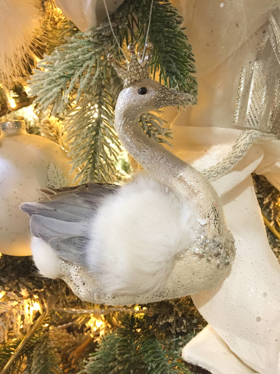 Christmas Ornament Swan Fur