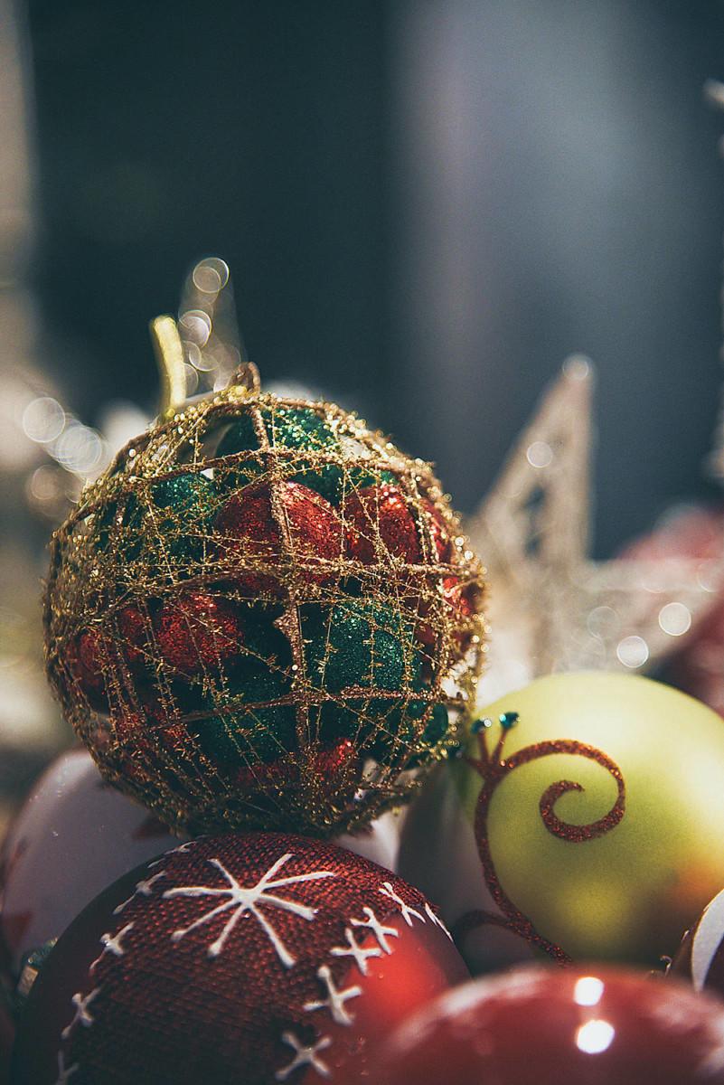 Christmas Ball Red Green Smaller Balls Inside