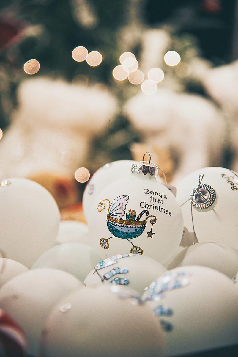 Christmas Balls Glass White Baby's First Christmas