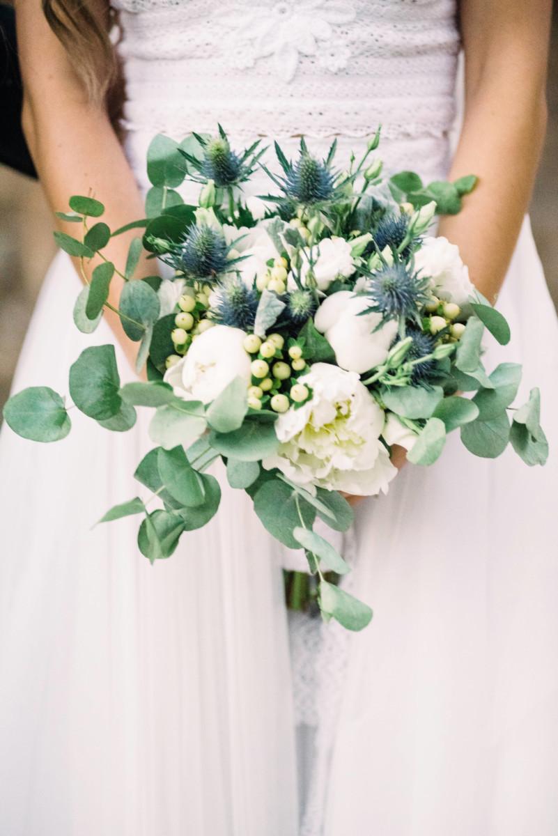 Bridal Bouquet Eringium Peonies