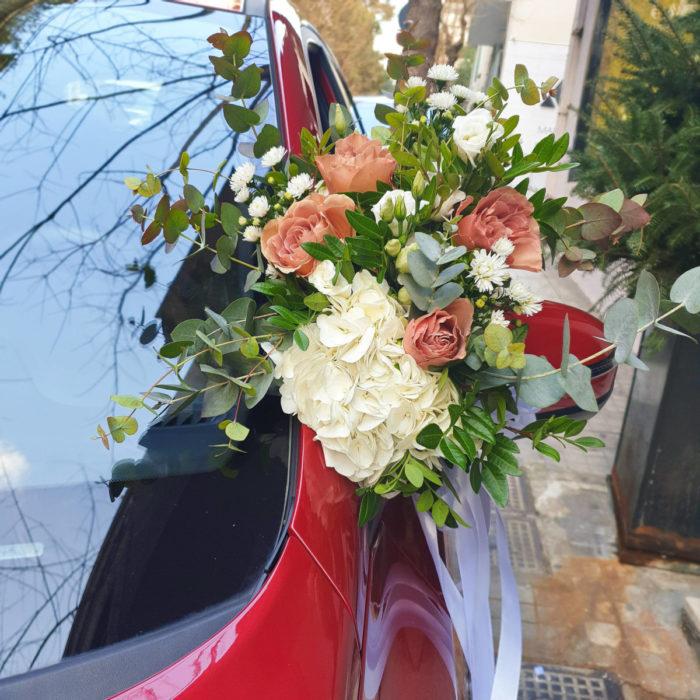 Στολισμός Αυτοκίνητο Γάμου Μπουκέτα Καθρέφτες