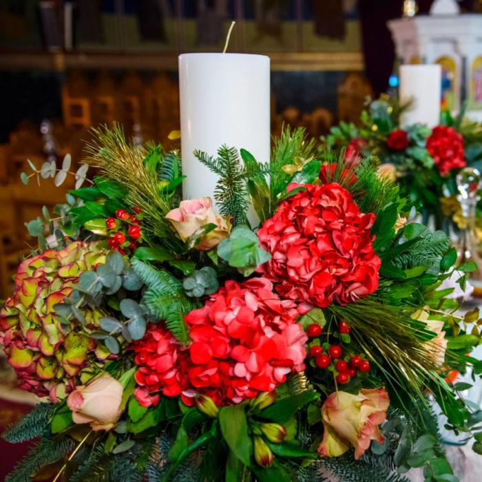 Λαμπάδες Γάμου Κόκκινες Ορτανσίες