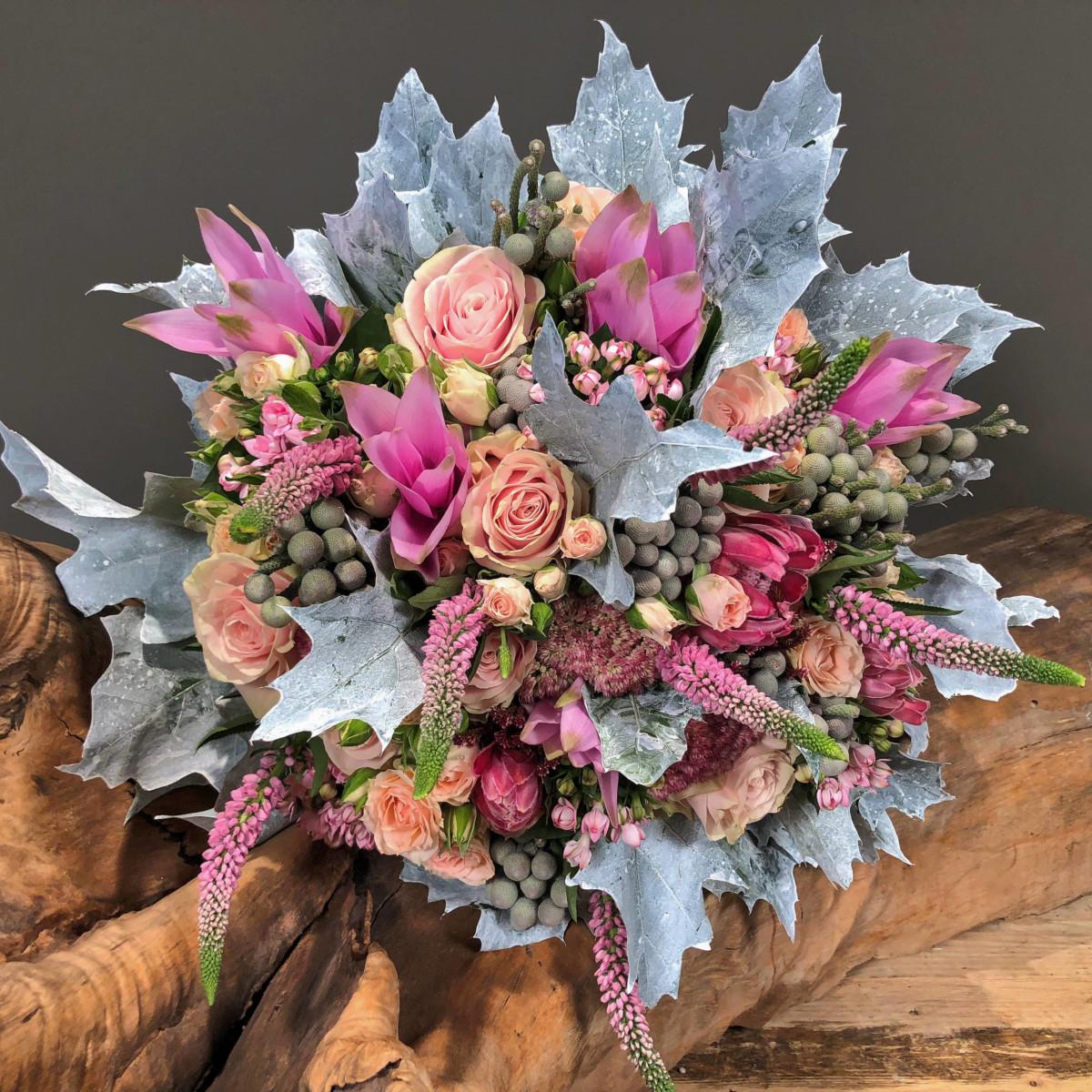 Bouquet Pink Roses Veronica Bouvardia
