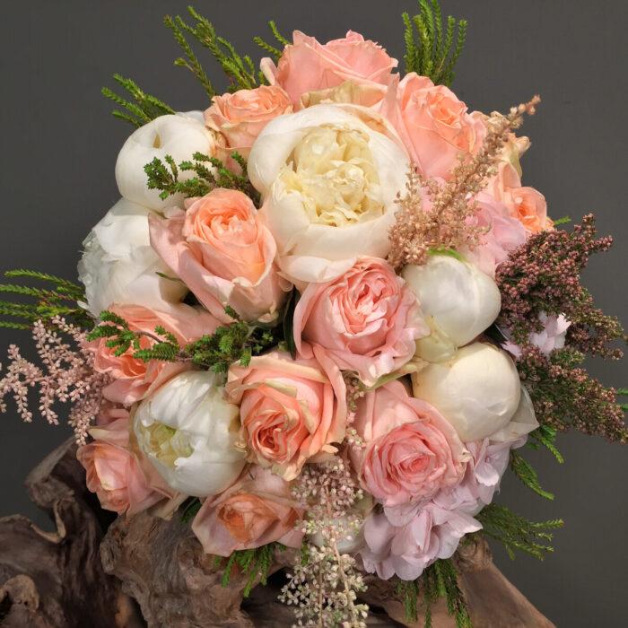 Ανθοδέσμη Γάμου Σομόν Τριαντάγυλλα