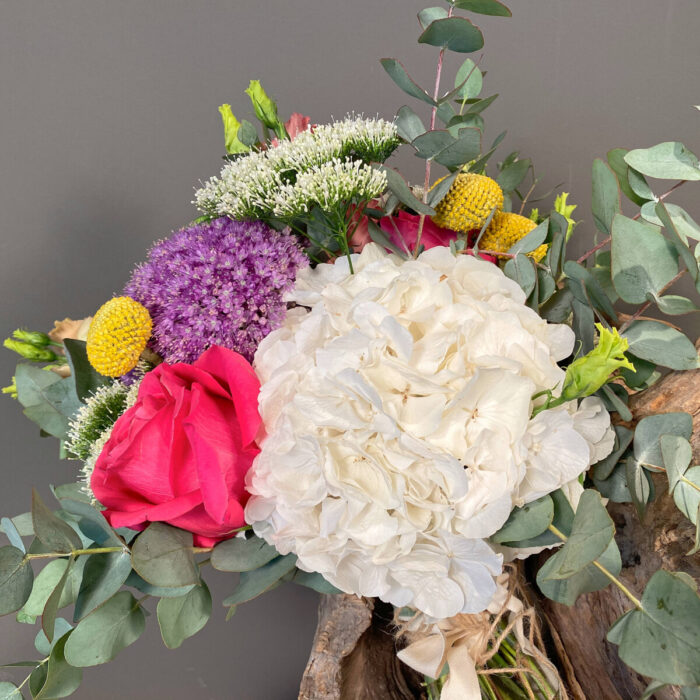 Ανθοδέσμη Γάμου Ορτανσίες Άλλιουμ Τριαντάφυλλα Κρασπέντια Τραχίλιουμ
