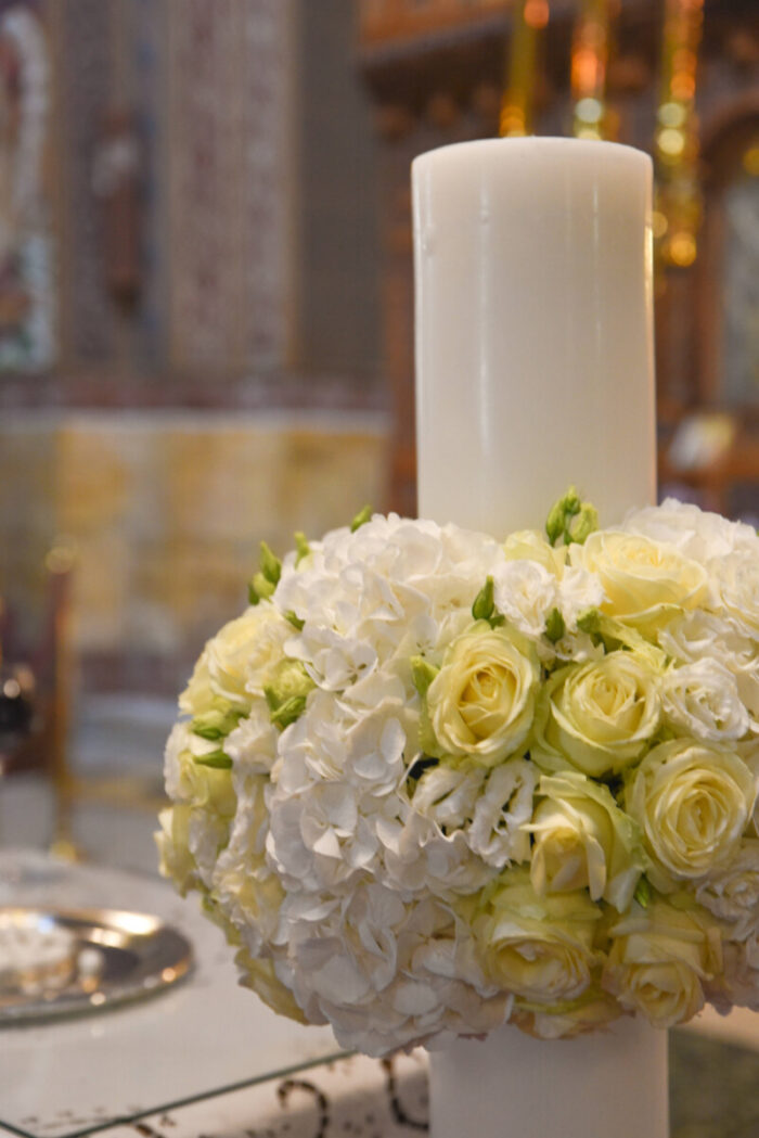 Λαμπάδες Γάμου Ορτανσίες Λευκές