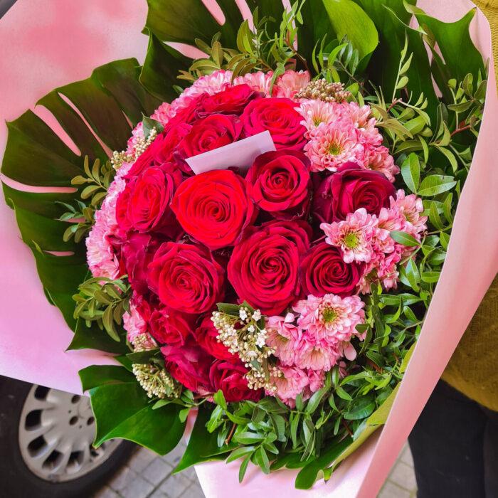 Μπουκέτο Τριαντάφυλλα Κόκκινα Χρυσάνθεμα Ροζ