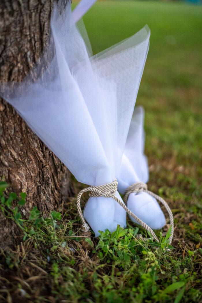 Tulle Ivory Cord Bonbonniere for a Greek Orthodox Wedding