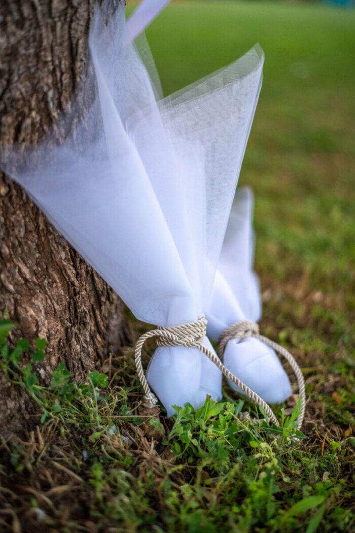 Μπομπονιέρα Γάμου Τούλινη Κορδόνι Ιβουάρ