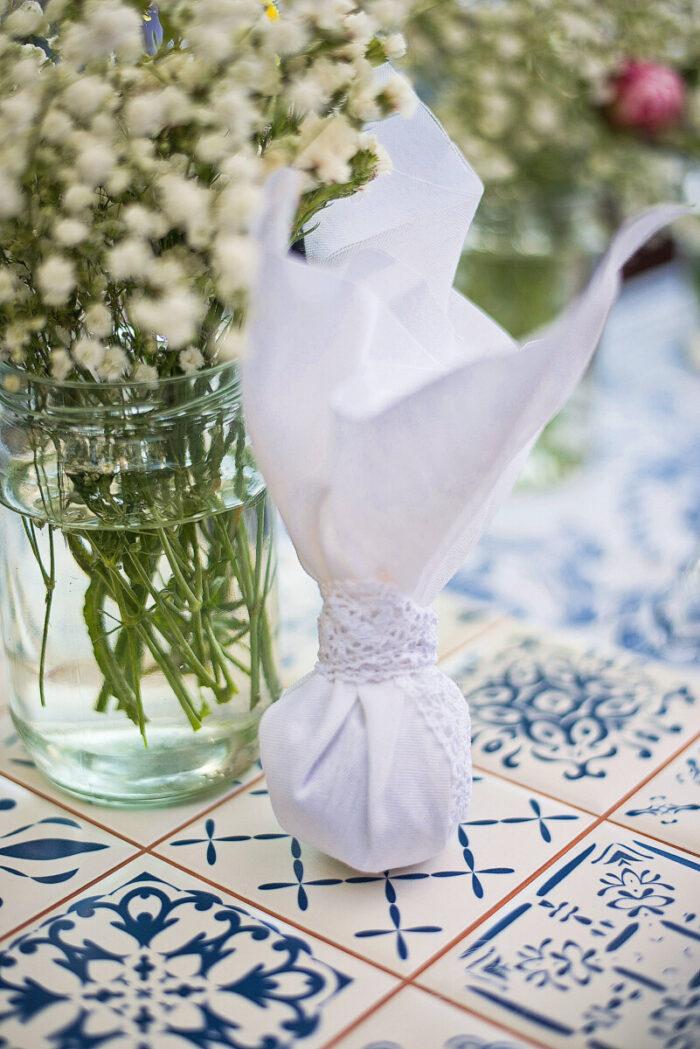Μπομπονιέρα Γάμου Δαντέλα Λινό Ύφασμα