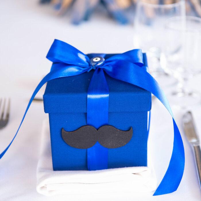 .Bonbonniere for a Baptism Mustache Petrol Box