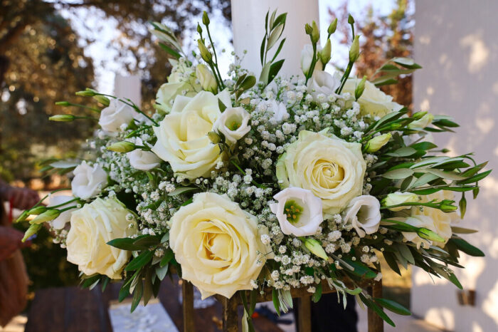 Candles for a Wedding in Greece with Gypsophila and Roses