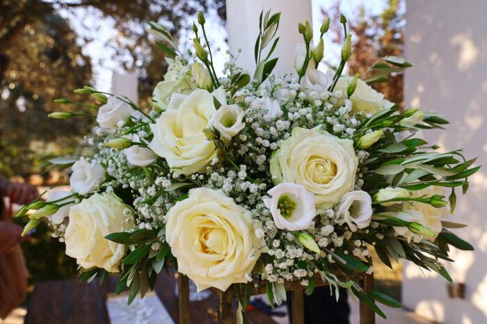 Λαμπάδες Γάμου Γυψοφύλλη Τριαντάφυλλα