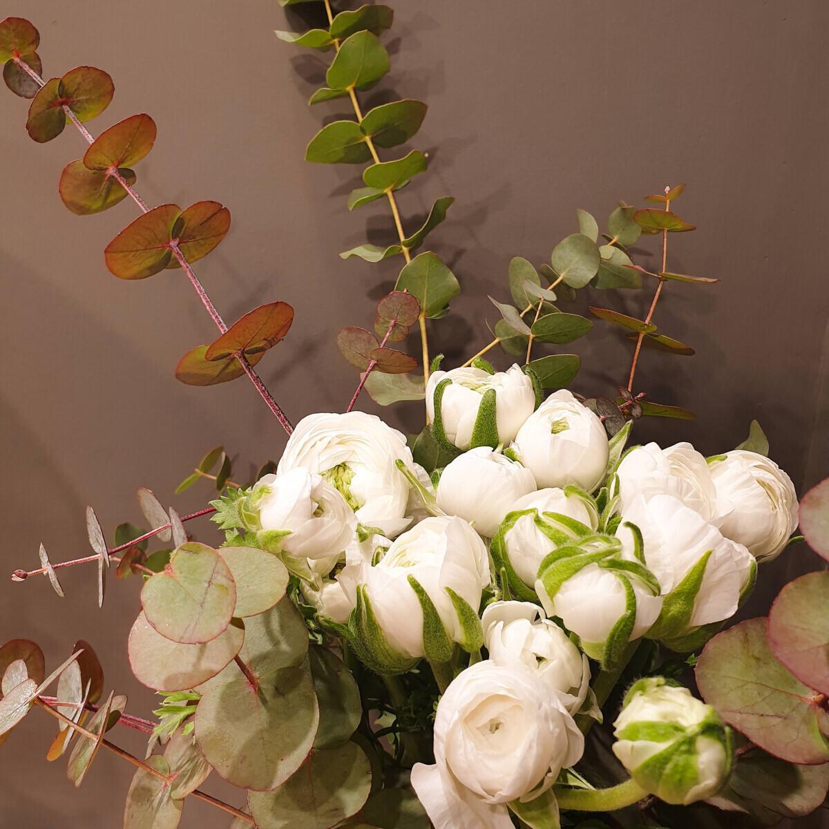 Bouquet White Buttercups Eucalyptus