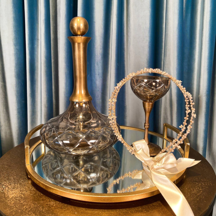 Set Crowns Tray Glass Carafe
