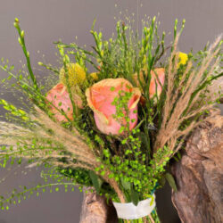 Thlaspi Roses Craspedia Panicum Bouquet for an Orthodox Wedding in Greece