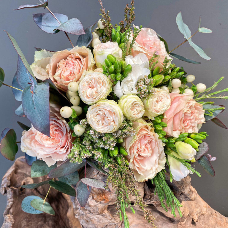 Greek Orthodox Wedding Bouquet Freesia Eucalyptus Roses Safari