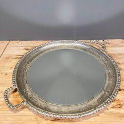 Δίσκος Γάμου Ασημένιος Στρογγυλός Μεταλλικός Αλουμινίου Καθρέφτης 61*51εκ