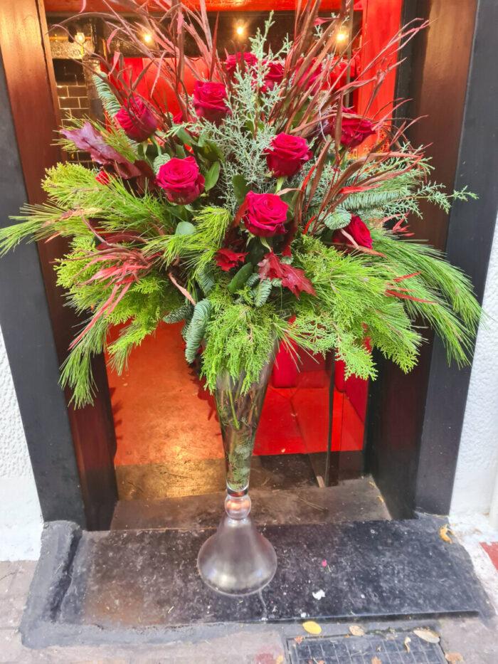 Christmas Arrangement Roses Fir Pine