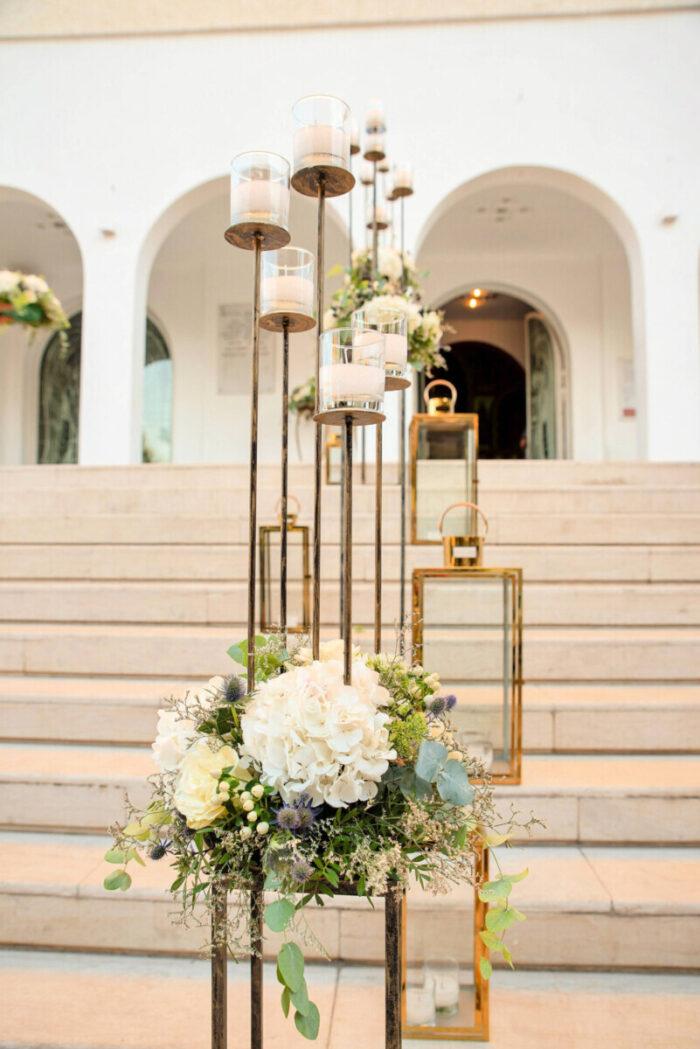 Wedding Church Decoration Five Candle Candlesticks & Flower Pedestals