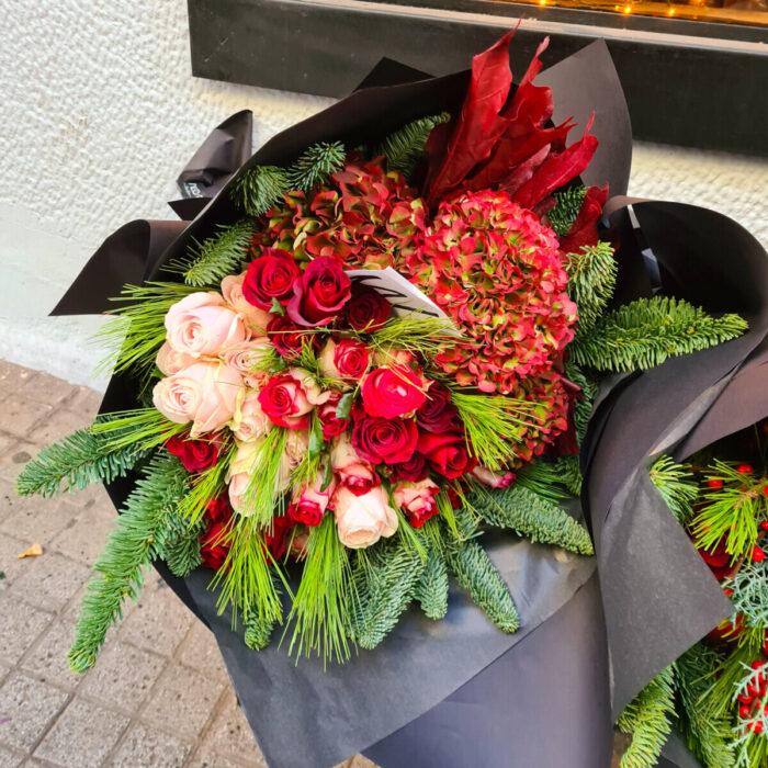 Christmas Bouquet Hydrangeas Roses