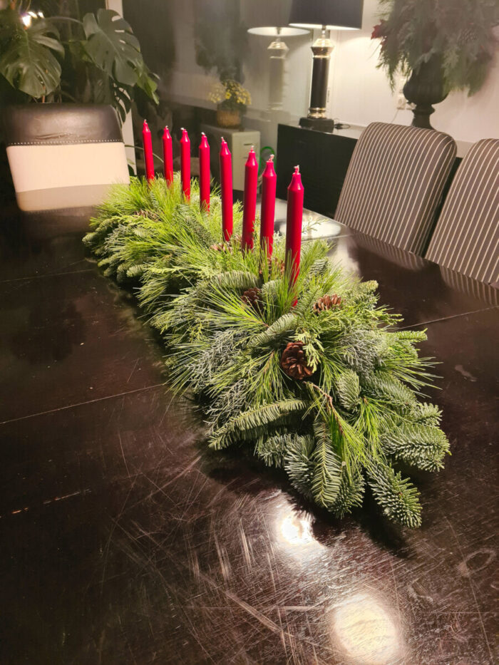 Christmas Arrangement Greenery Red Candles