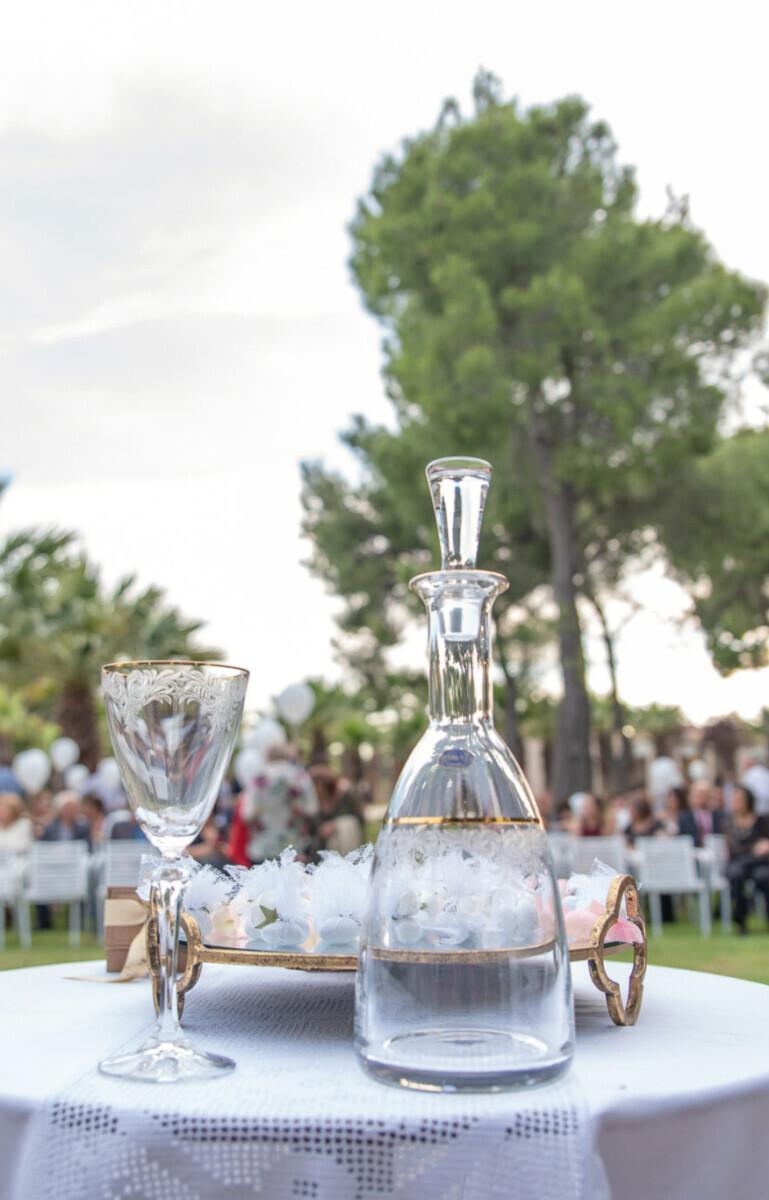 Greek Orthodox Wedding Set Crystal Carafe & Glass Tray with Mirror