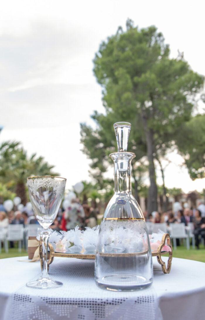 Σετ Γάμου Κρυστάλλινη Καράφα & Ποτήρι Δίσκος με Καθρέφτη