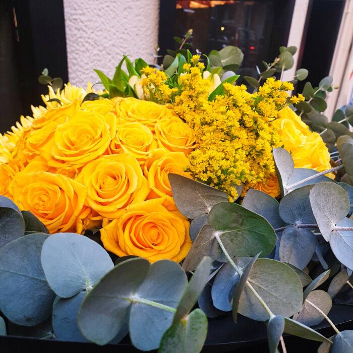Bouquet Yellow Flowers Eucalyptus