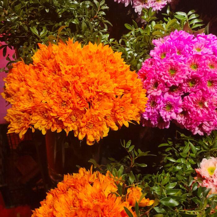 Bouquet Pink Orange Chrysanthemums