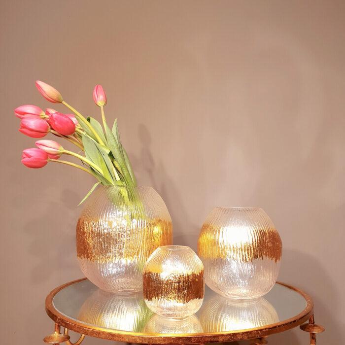 Vase Candlestick Glass Golden