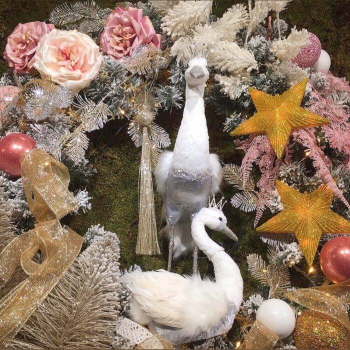 Christmas Wreath Crane Swan