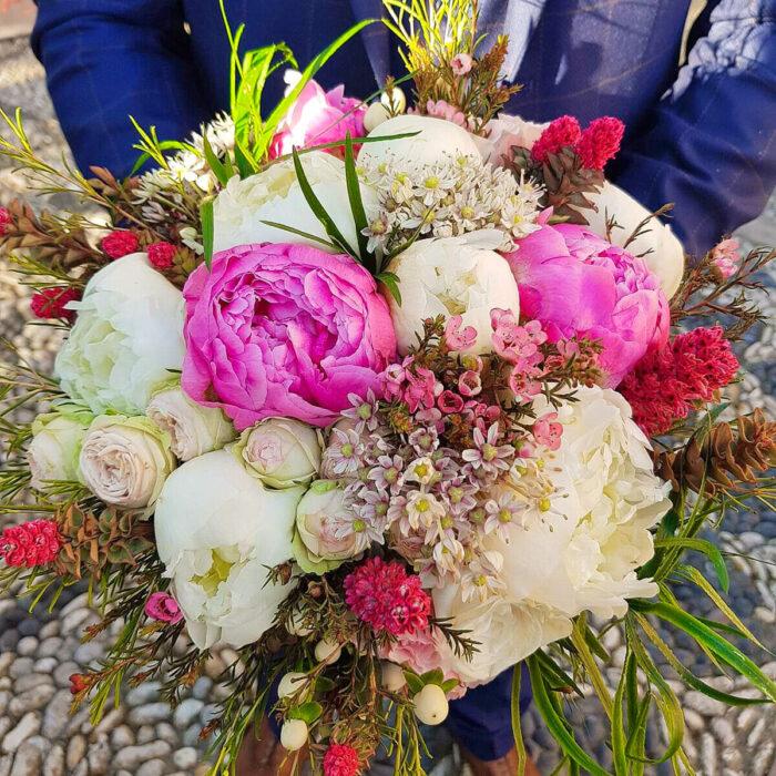 Bridal Bouquet Peonies Wax Hypericum