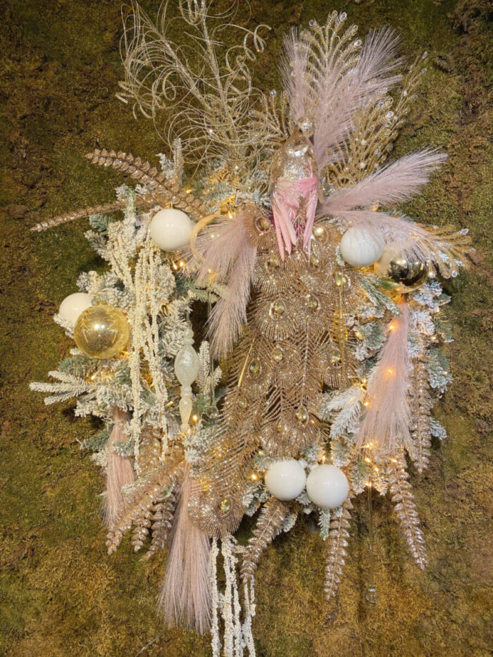 Christmas Wreath Snowy Peacock Gold Pink White Ornaments