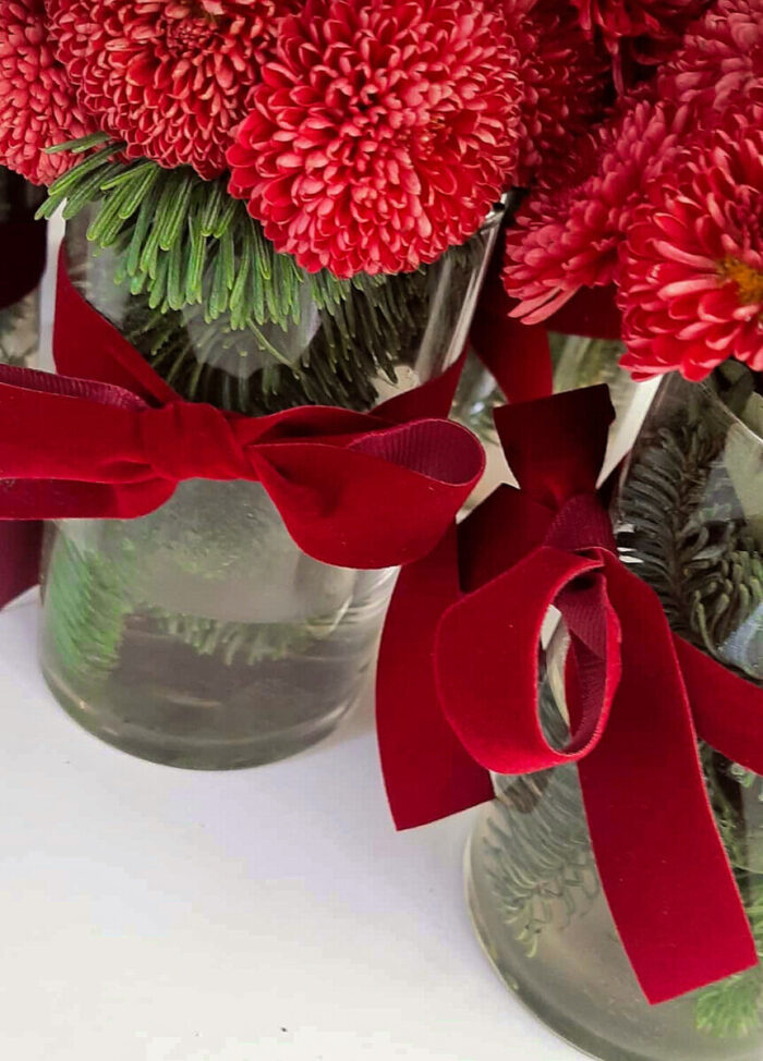 Bouquet Red Chrysanthemums Fir